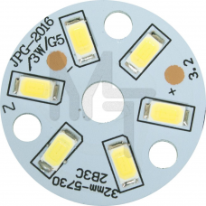 LB-1761, светодиодный модуль на алюм.плате, 3W 6LED SMD5730 165 Lm 6400K D32mm 27987