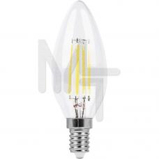 Лампа светодиодная LB-58 4LED(5W) 230V E14 4000K филамент свеча 25573