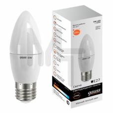 Лампа светодиодная Gauss LED Elementary C37 6W 2700K E27 Candle 1/10/50 33216