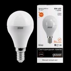 Лампа светодиодная Gauss LED Elementary G45 6W 3000K E14 Globe 1/10/50 53116