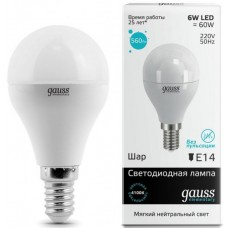 Лампа светодиодная Gauss LED Elementary G45 6W 4100K E14 Globe 1/10/50 53126
