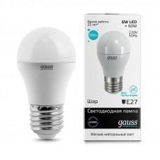 Лампа светодиодная Gauss LED Elementary G45 6W 4100K E27 Globe 1/10/50 53226