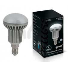 Лампа Gauss LED R50 E14 6.5W 4100K FROST 1/10/100 EB106101207