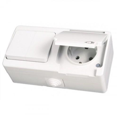 NEMLI 0710181 Комбинированный выключатель + розетка с землей бел.(белая крышка) 01 07 11 00 100 181
