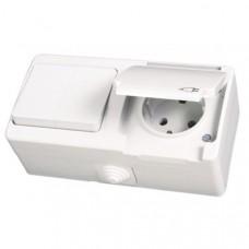 NEMLI 0710183 Комбинированный выкл-ль 2х + розетка с землей бел.(белая крышка) 01 07 11 00 100 183