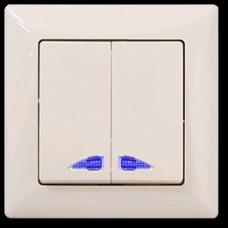 VS2812104 Выкл. 2-клав.с подсветкой крем 01 28 12 00 100 104