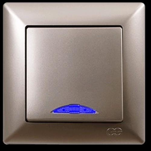 VS2825102 Выкл. 1-клав. с подсв. бежевый металлик 01 28 25 00 100 102