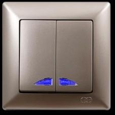 2825104 VISAGE выкл.2 клав.с подсв.зол .(12шт) 01 28 25 00 100 104