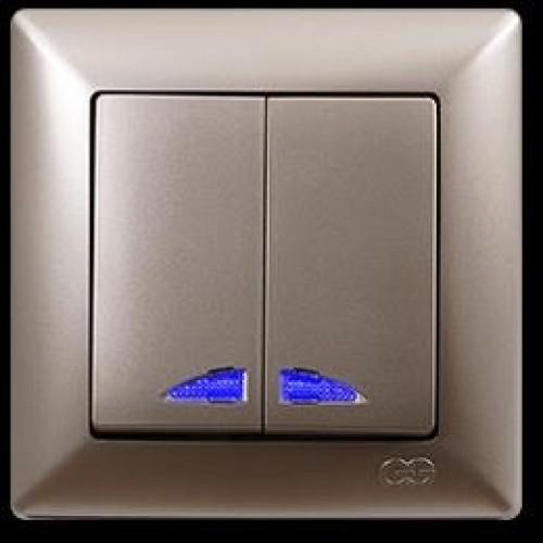 VS2825104 Выкл. 2-клав. с подсв. бежевый металлик 01 28 25 00 100 104