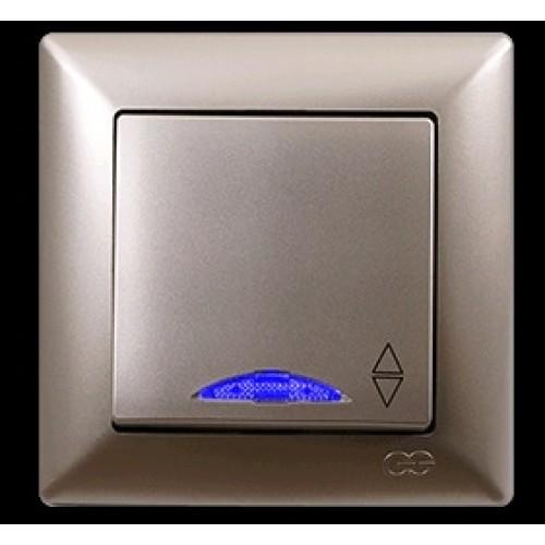 VS2825108 Выкл. 1-клав. проходной с подсветкой бежевый металлик 01 28 25 00 100 108