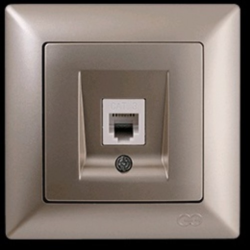 VS2825130 Розетка компьютерная cat5E 1-я бежевыйй металлик 01 28 25 00 100 130