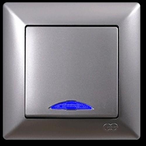 VS2815102 Выкл. 1-клав. с подсв. серебряный металлик 01 28 15 00 100 102