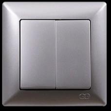 2815103 VISAGE выкл.2 клав. сереб (12шт) 01 28 15 00 100 103