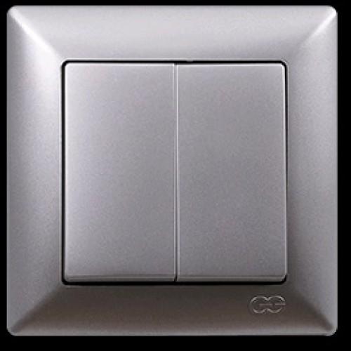 VS2815103 Выкл. 2-клав. серебряный металлик 01 28 15 00 100 103