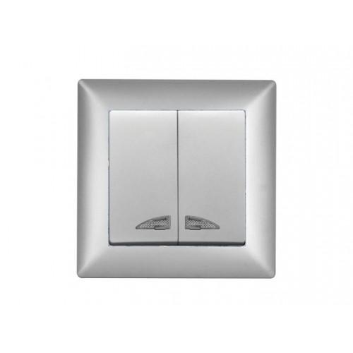 VS2815104 Выкл. 2-клав. с подсв. серебряный металлик 01 28 15 00 100 104