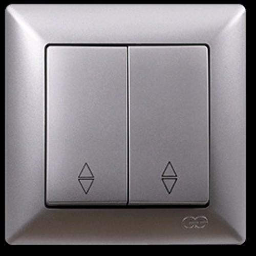 VS2815109 Выкл. 2-клав. проходной серебряный металлик 01 28 15 00 100 109