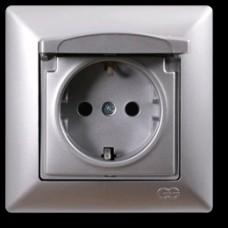 VS2815117 Розетка 1х с крышкой и заземлением серебряный металлик 01 28 15 00 100 117