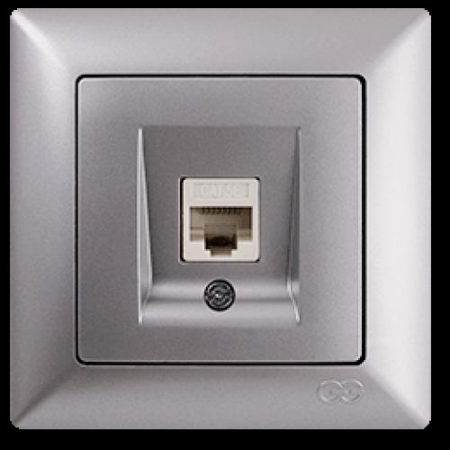 VS2815130 Розетка компьютерная cat5E 1-я серебряный металлик 01 28 15 00 100 130