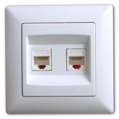 VS2811131 Розетка компьютерная (cat 5e) 2-ая бел. 01 28 11 00 100 131