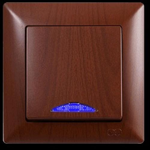 VS2820102 Выкл. 1-клав. с подсветкой ОРЕХ 01 28 20 00 100 102