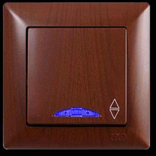 VS2820108 Выкл. 1-клав. проходной с подсветкой ОРЕХ 01 28 20 00 100 108