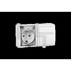 Блок, розетка с заземлением Schuko 16А 250В + выключатель одноклавишный 10А 250В, IP54, S15 Aqua, бе 1594511-030