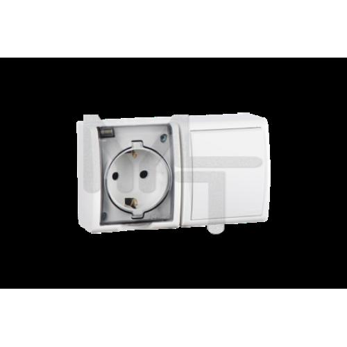 Блок, розетка 2P+E Schuko 16А 250В + выключатель 10А 250В, IP54, белый 1594511-030