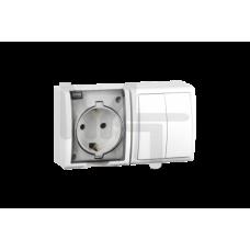 Блок, розетка с заземлением Schuko 16А 250В + выключатель двухклавишный 10А 250В, IP54, S15 Aqua, бе 1594515-030