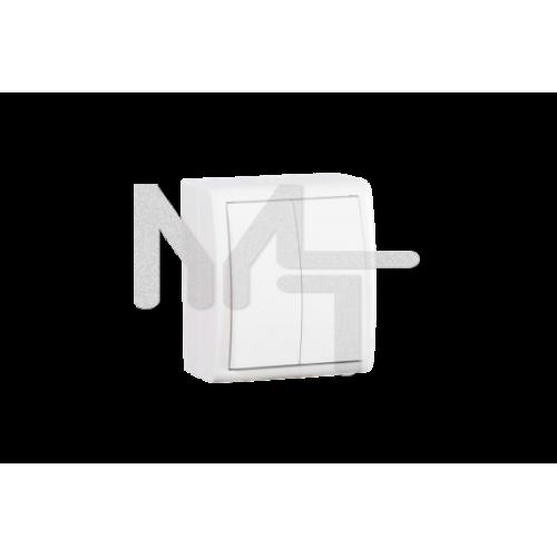 Выключатель двухклавишный с подсветкой, IP54, 10А 250В, винтовой зажим, S15A, белый 1594399-030