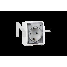 Розетка с заземлением Schuko со шторками, с крышкой полупрозрачной, IP54, 16А 250В, винтовой зажим, 1594432-030