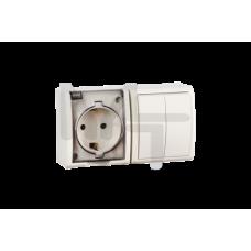 Блок, розетка с заземлением Schuko 16А 250В + выключатель двухклавишный 10А 250В, IP54, S15 Aqua, сл 1594515-031