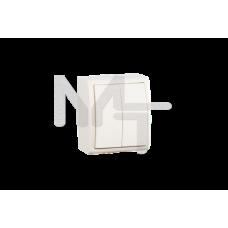 Выключатель двухклавишный с подсветкой, IP54, 10А 250В, винтовой зажим, S15 Aqua, слоновая кость 1594399-031