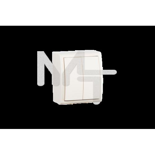 Выключатель двухклавишный с подсветкой, IP54, 10А 250В, винтовой зажим, S15A, слоновая кость 1594399-031