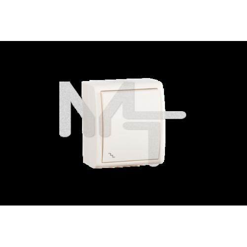 Выключатель проходной с подсветкой, IP54, 10А 250В, винтовой зажим, S15A, слоновая кость 1594204-031