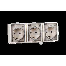 Розетка тройная с заземлением Schuko со шторками, с крышкой полупрозрачной, IP54, 16А 250В, винтовой 1594447-031