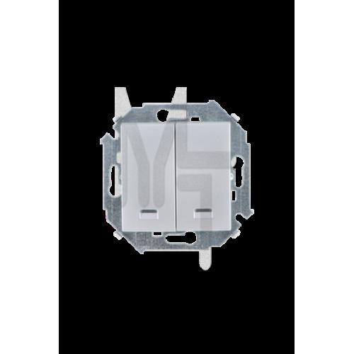 Выключатель двухклавишный с подсветкой, 16А, 250В, винтовой зажим, алюминий 1591392-033