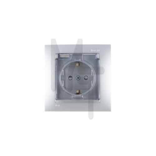 Розетка 2Р+Е Schuko, со шторками, с крышкой, IP44, 16А, 250В, винтовой зажим, алюминий 1590450-033