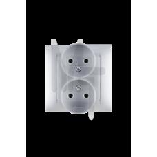 Розетка двойная 2Р, 16А, 250В, винтовой зажим, алюминий 1590457-033