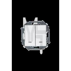 Выключатель двухклавишный с подсветкой, 16А 250В, винтовой зажим, белый 1591392-030