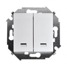 Выключатель двухклавишный с подсветкой, с рамкой, 16А, 250В, винтовой зажим, белый 1590392-030
