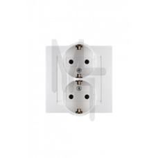 Розетка двойная с заземлением Schuko, 16А 250В, винтовой зажим, белый 1590459-030