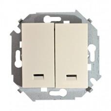 Выключатель двухклавишный с подсветкой, с рамкой, 16А, 250В, винтовой зажим, слоновая кость 1590392-031