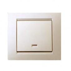 Выключатель одноклавишный с подсветкой, с рамкой, 16А, 250В, винтовой зажим, слоновая кость 1590104-031