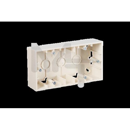 Монтажная коробка для накладного монтажа, 2 поста, слоновая кость 1590752-031