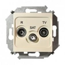 Розетка R-TV-SAT одиночная с рамкой, винтовой зажим, слоновая кость 1590466-031