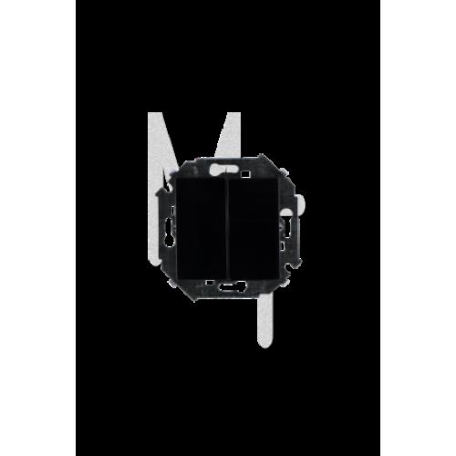 Выключатель двухклавишный , 16А, 250В, винтовой зажим, черный 1591398-032