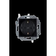 Розетка 2P+E Schuko, 16А, 250В, винтовой зажим, черный 1591432-032