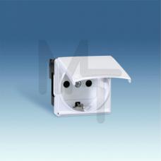 Розетка 2P+E Schuko с крышкой, шторки, винтовой зажим, 16А 250В, S27, белый 27490-35