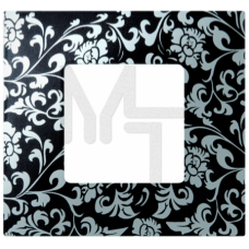 Декоративная накладка на рамку-базу, 1 пост, S27Pl, чёрная ретро (10130040/290115/0000388/3, ИСПАНИЯ 2700617-804