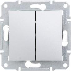 Выключатель двухклавишнный проходной (переключатель), 10А, 250В, S34, алюминий 34397-033